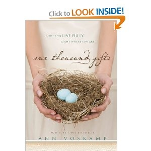 One Thousand Gifts by Ann Voscamp.  Ann has a unique writing style, and shares her journey in thankfulness. This book could be life changing.