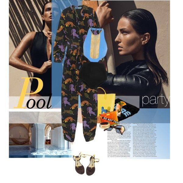 Pool party: Lynn by laste-co on Polyvore featuring moda, STELLA McCARTNEY, Flagpole Swim, Jimmy Choo, Smythson, Hermès, Henri Bendel, Marc by Marc Jacobs, ill.i Optics and Dsquared2