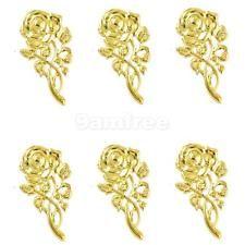 6Pcs золотая филигрань брошь цветок розы кулоны подвески сделай сам изготовление украшений