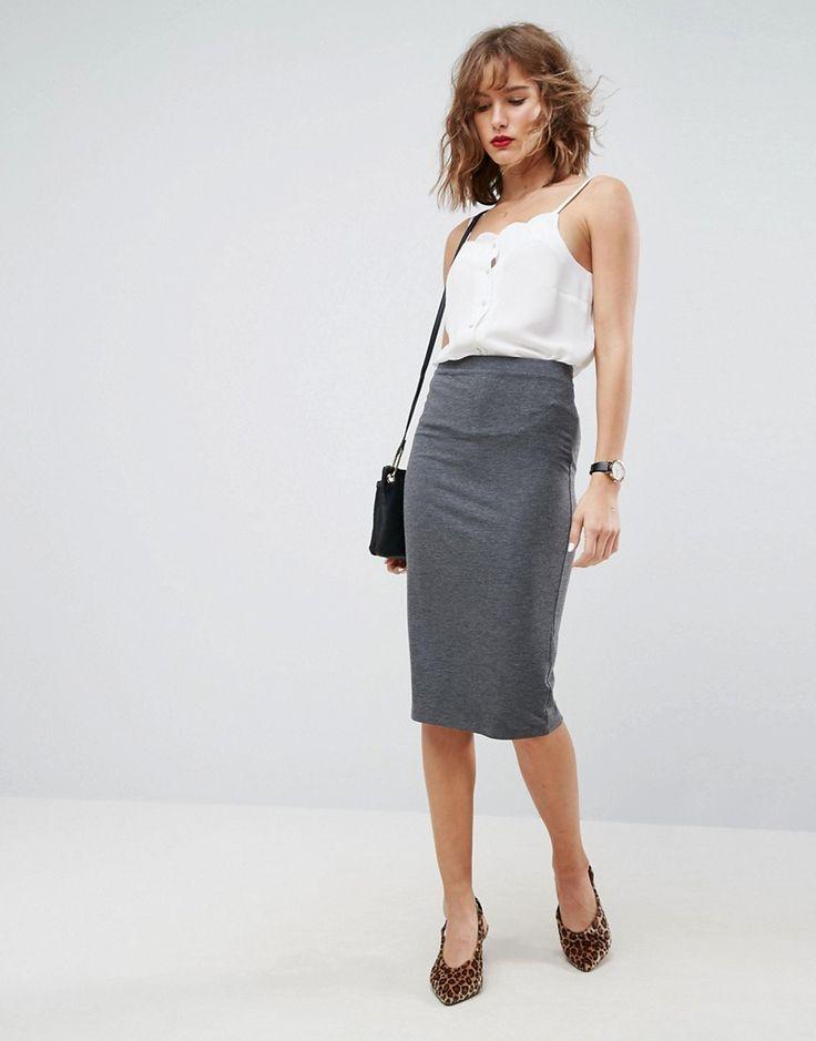 ASOS Jersey Pencil Skirt - Gray
