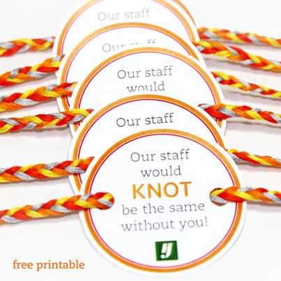 Develop a sense of belonging in staffers with these knot bracelets.