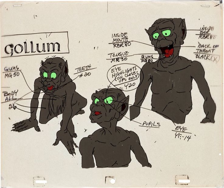 The Lord of the Rings, Gollum model cel (United Artists/Ralph Bakshi productions, 1978). J. R. R. Tolkien 2d traditional animation
