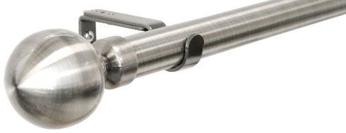 28mm Allure Stainless Steel Effect Ball Eyelet Curtain Pole Ready Made Curtain Pole 150cm £17.99