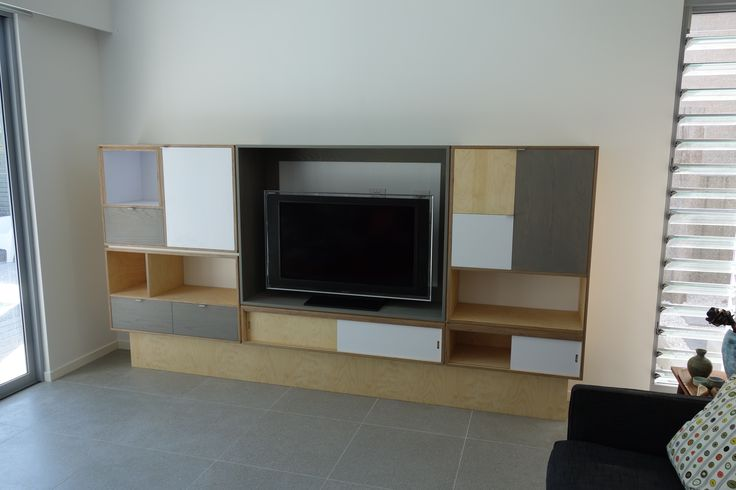 entertainment unit built from birch plywood, grey washed American oak and lamimax ply