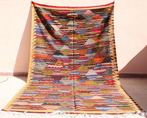 Großer Beiger Kelim Teppich 200x300, Beiger Kelimteppich, Kilim, Handgewebter Marokkanischer Teppich, Flachgewebe, Teppich Beige
