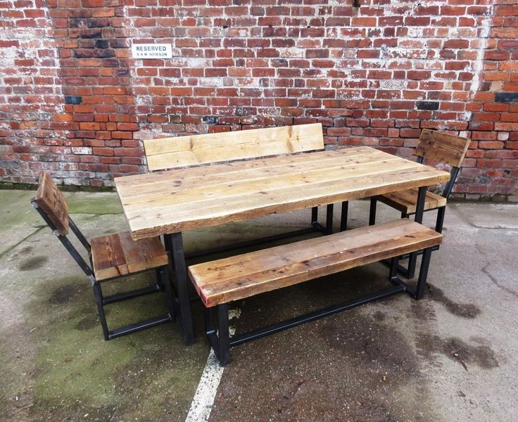 reclaimed industrial chic wood u0026 metal 810 seater dining table setcafe