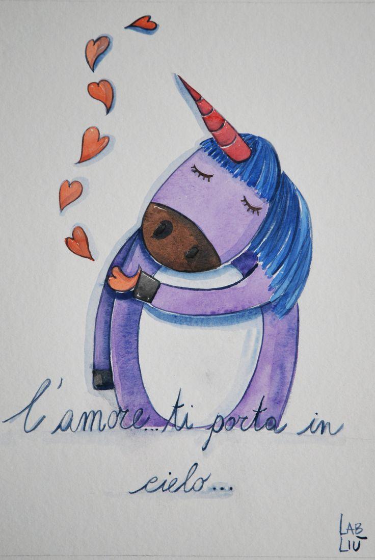 #Illustrazione ad #acquerello, L'#unicorno e l'#amore che ti porta in cielo di #LabLiu su #Etsy #love #heart #cuori
