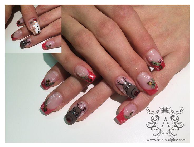 X-mas nail design, Rudolph, snowman...