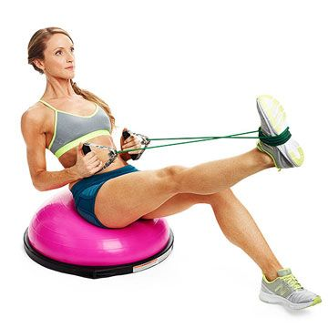 Do the Pike and Pull exercise to target your back, biceps and abs.