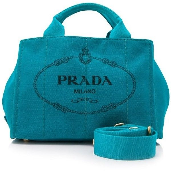 Pre-owned Prada Canapa Stampata Shopping Tote ($630) ❤ liked on Polyvore featuring bags, handbags, tote bags, blue, handbags tote bags, blue tote, blue purse, preowned handbags and handbags totes