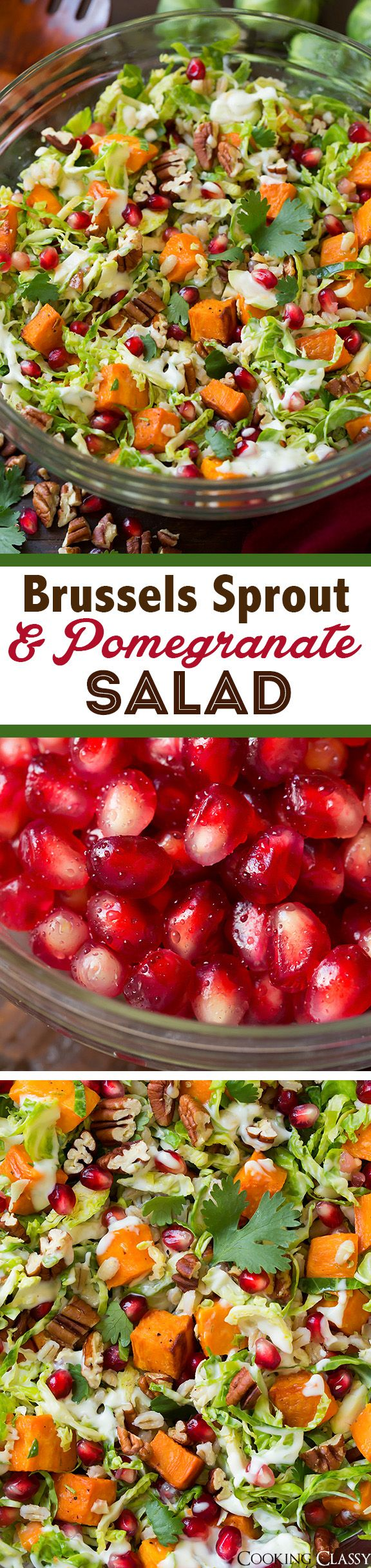 Shredded Brussels Sprout and Pomegranate Salad - loved all the flavors and textures in this salad! Definitely making this one again! #HelalthierSideOfMayo #Sponsored