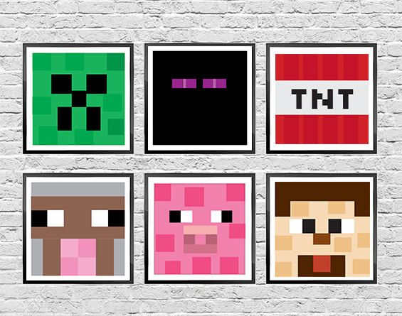 Minecraft Art Superhero Art Personalize by LBelleCreative on Etsy