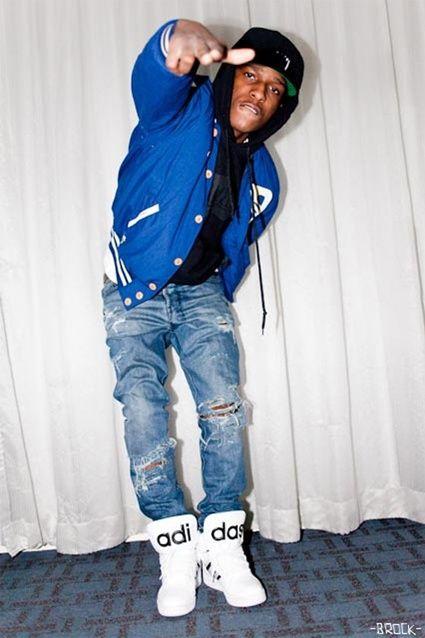 ripped jeans, varsity jacket, adidas jeremy scott instinct hi