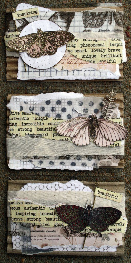 ATCs - Melody Ross Papers, Tim Holtz Tissue Tape, Glitz Distress Stamps, Nunn Designs and Jewelry Shoppe Embellishments