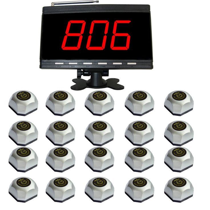SINGCALL Patient Calling System,Wireless Table Call System,for Hospital,Pack of 1 pc Black Display and 20 pcs Table Bells. APE9500: 01. Display a group of three-digit. 02. Each pager can set different chord music. Twelve beautiful chord music. 03. With a 999 call extension, can be displayed simultaneously in English and figures. 04. The display time length of the call number can be arbitrarily. 05. Length of call sound can be selected. APE560: 01. Equipped with waterproof base. 02. Stable...