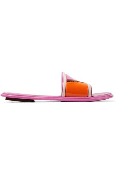 Prada - Color-block Rubber And Leather Slides - Pink - IT