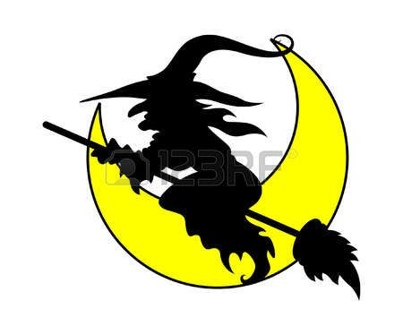 witch flying - halloween vector illustration Vector