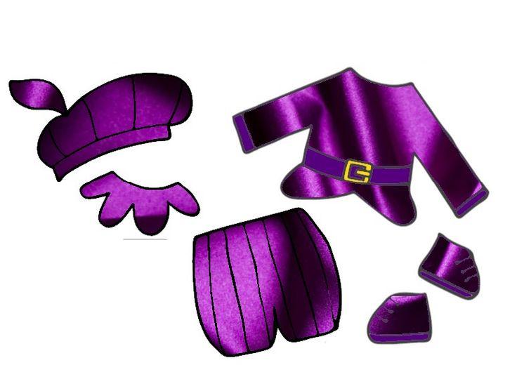 De kleren van Zwarte Piet in paarse zijde