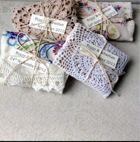 Vintage party favor tiny doilies with tea bags