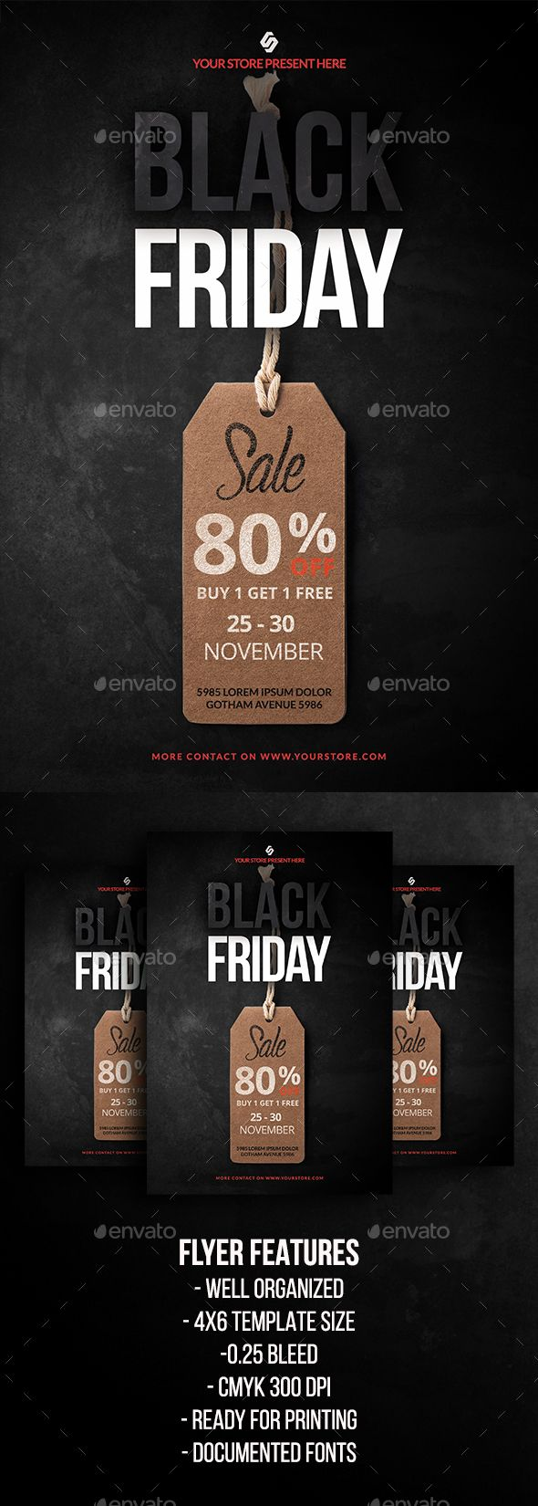 Black Friday Sale Flyer Template  — PSD Template #christmas sale #4x6 • Download ➝ https://graphicriver.net/item/black-friday-sale-flyer-template/18421897?ref=pxcr