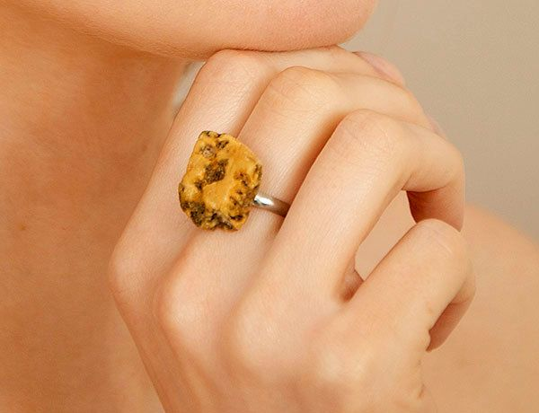One of a kind Baltic amber ring adjustable size , Unique amber ring , Semi silver , natural raw piece of Baltic amber by PreciousAmber on Etsy