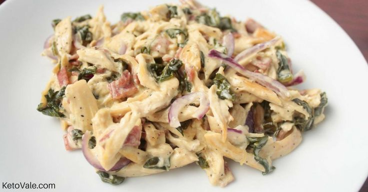 Today we are making low carb creamy shredded chicken breast. The combination of cream cheese, bacon, and spinach makes this dish super tasty. Here's how...