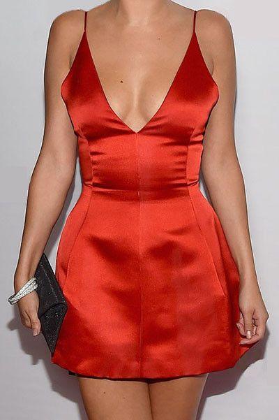 Red Deep V Satin Mini Dress - Fashion Frenzzie