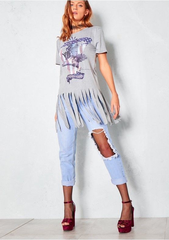 Isabella Grey Freedom Fighter Tassel T Shirt Missy Empire