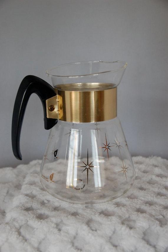 Vintage 1960s Corning Pyrex Coffee Tea Pot Clear Glass With Etsy Coffee Pot Pyrex Atomic Starburst Pattern
