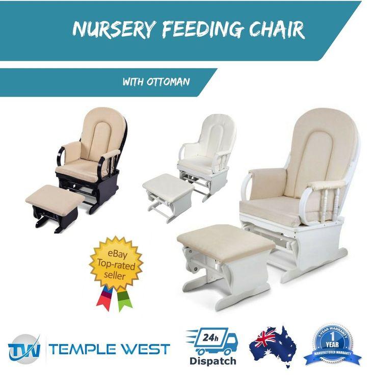 NEW Rocking Chair Baby Breast Feeding Sliding Glider Ottoman Nursery Lounge