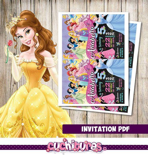 Invitación de princesa Disney princesa Disney por TusCuchituras