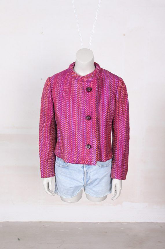 Frou Frou's Vintage roze boucle jasje jaren 60 pink 1960s coat jacket