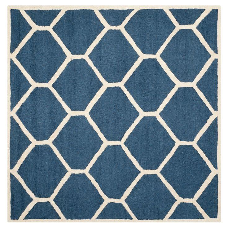 Hunter Texture Wool Rug   Navy Blue / Ivory (6u0027 X 6u0027 Square