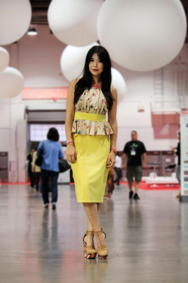 #peplumtank #evafranco #personalstyle #fashionblogger #ootd #wiwt #businesscasual #fashionlawyer #MAGICtradeshow #fashiontradeshow #workclothes #yellowpeplum #neoncolors #anntaylor #michaelantonio #wedges http://www.goodbadandfab.com/2012/10/road-to-magic-one-more-for-road.html