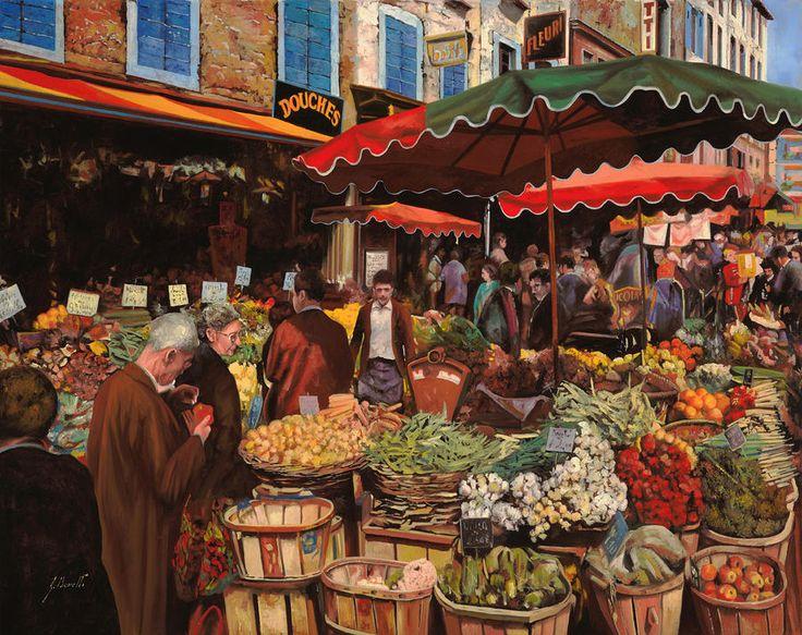 Il Mercato Di Quartiere Painting Guido Borelli