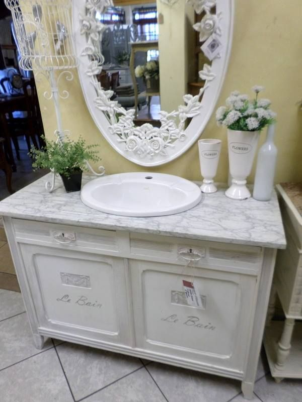Chalk paint Vanity with Carrara marble top.