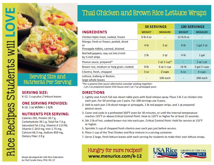 Thai Chicken and Rice Lettuce Wraps, USA Rice Federation (http://www.menurice.com/resources-training-tools/k-12/recipe-ideas/)