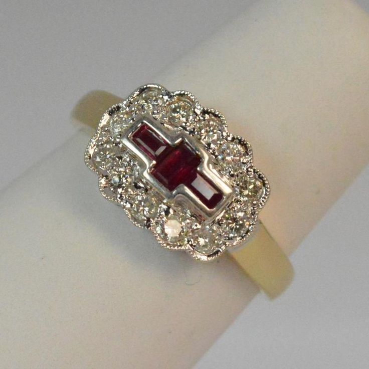 Stunning Ruby & Diamond Ladies 18ct Gold Cluster Ring D0356 #Cluster #Engagement