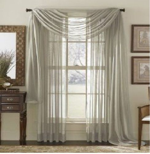 "MONAGIFTS TWO PANELS 55 WIDE X 95"" LENGTH GRAY SILVER 2 Piece Solid SHEER PANEL with ROD POCKET - Window Curtain Treatment 95"" LENGTH MONAGIFTS http://www.amazon.com/dp/B00JHTG9PU/ref=cm_sw_r_pi_dp_xW.Rvb0BCGNVS"