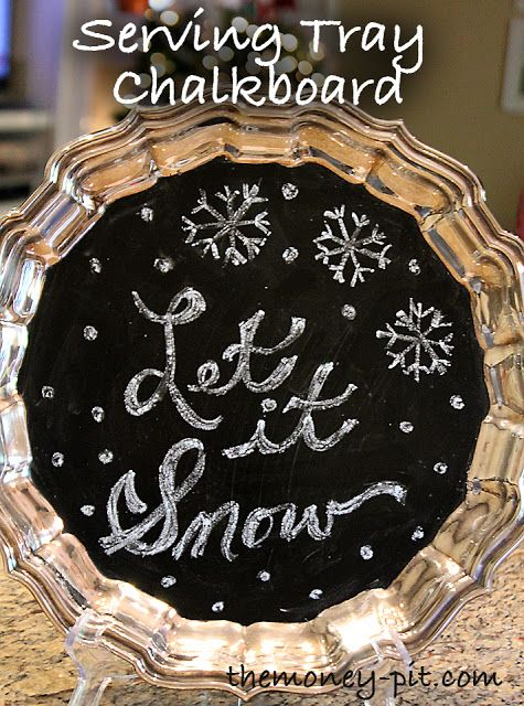 Transform a thrift store silver tray into a chalkboard.  Super cute set up on a bookshelf