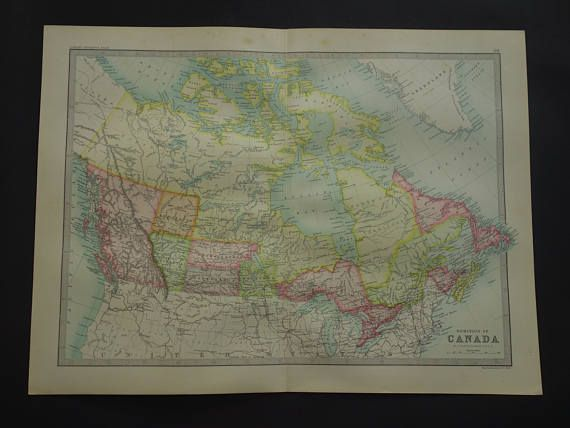 CANADA old map of Canada Dominion  LARGE 1890 original