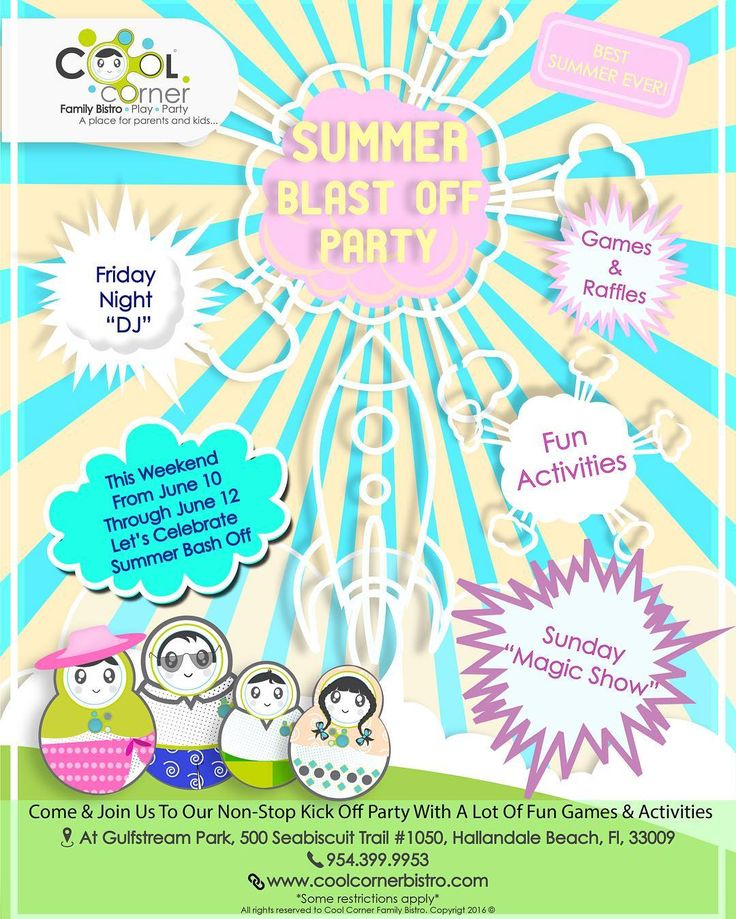 THIS WEEKEND COME & ENJOY OUR SUMMER BLAST - OFF PARTY!!!!! #CoolCornerBistro
