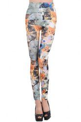 $4.46 Stylish Cat Print Color Splicing Fitted Leggings For Women
