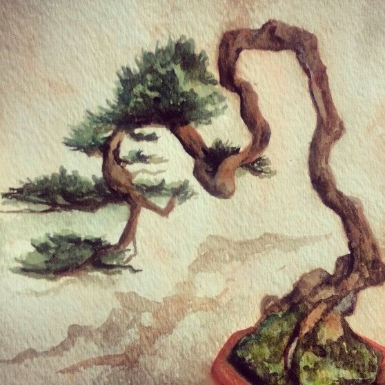 another watercolor bonsai tree.. ❤