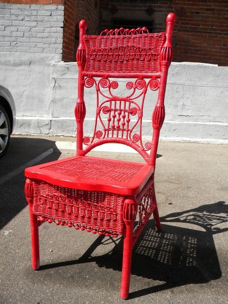 antique chair painted red