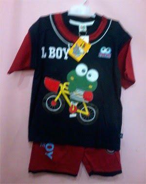 Pakaian Anak: Baju stelan anak little boy hitam merah