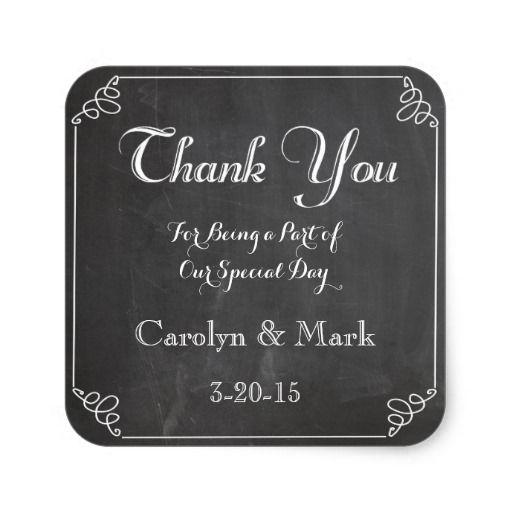 Thank You Chalkboard Vintage Wedding Favor Labels