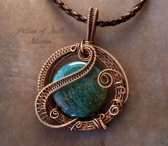 Wire wrapped pendant / teal aqua agate and copper Wire Wrapped jewelry by PillarOfSaltStudio