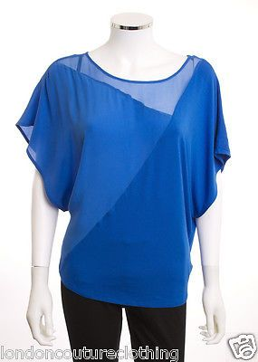 BEBE SCOOP NECK BATWING SLEEVE SILK KNIT NAUTICAL BLUE TOP BLOUSE SZ SMALL