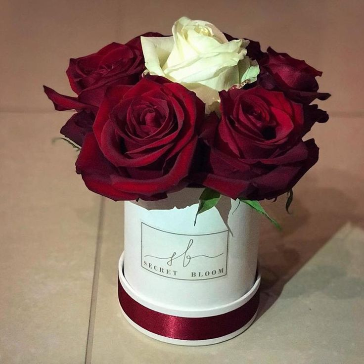 Red Roses White Roses Secret Bloom Boxes Mini box of natural flowers